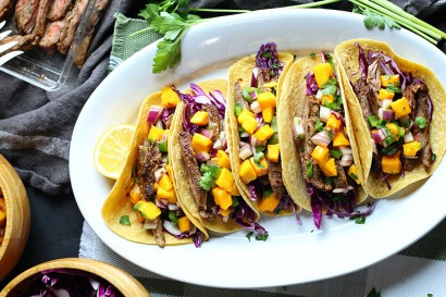 Skirt Steak and Mango Tacos with Lambrusco (Cleto Chiarli